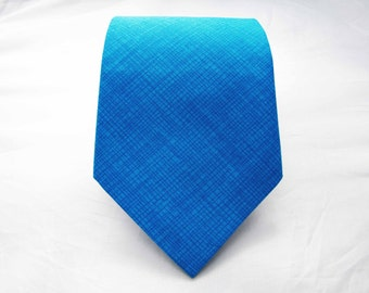Men's Necktie - Turquoise Crosshatch