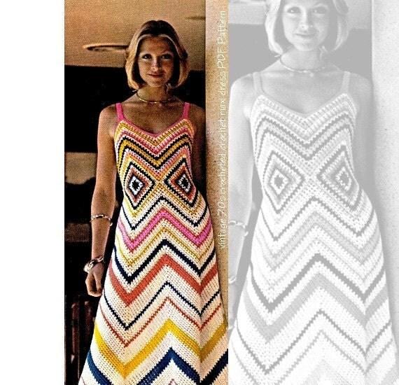Crochet Dress Pattern - Vintage 70's Crochet Maxi Dress PDF Pattern - INSTANT DOWNLOAD
