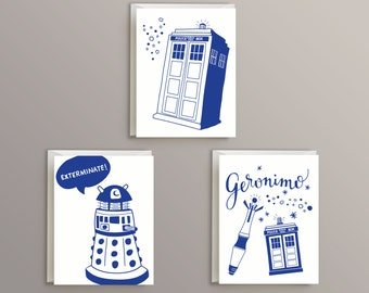 Doctor Who Blank Notecard Set (includes 3 notecards)