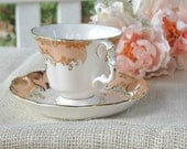 Reserved for Marilyn...Vintage Royal Albert Opal Tea Cup and Saucer Set, Regina Series, Rare, Peach Apricot, Tea Party, English Bone China