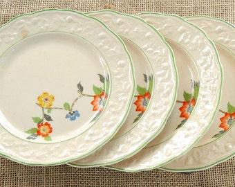 English Brambleberry Salad Plates Set of 4, Hopewell China, Dessert Plates, Rare, Shabby Cottage, Tea Party, Farmhouse, Weddings