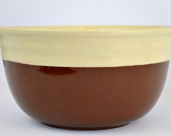 Oxford Stoneware Brown Cream White Mixing Bowl