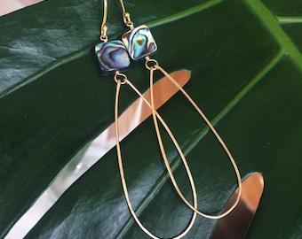 Abalone teardrop hoops