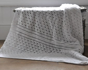 White Shell Lace Blanket - Instant Download PDF Crochet Pattern