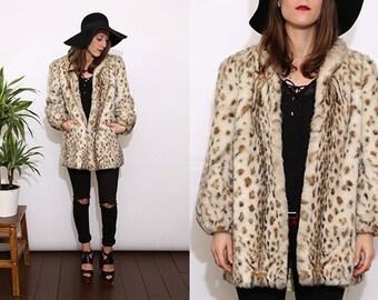 Vintage 80s Leopard Print Faux Fur Coat. Medium. UK 12/14.