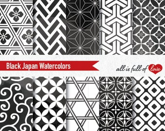 Black Watercolor Digital Paper Japanese Patterns Black and White Background Geometric Patterns Digital Scrapbook Chinese New Year