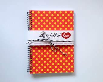 Red Yellow Journal Polka Dots Notebook Card stock with Spiral Bound minnie notebook handmade pocket notebook back to school