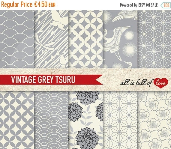 80% OFF Grey Digital Paper JAPANESE Background Wedding Graphics Japanese Patterns Silver GREY Printable Scrapbook Background Sheets Baptism