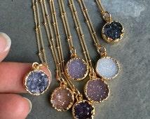 Natural Druzy Necklaces, Druzy Jewelry, Crystal Druzy, aunt gift, bridesmaids jewelry