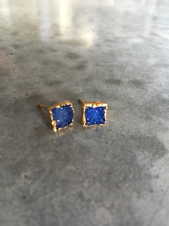 Druzy Earrings, Saphire color