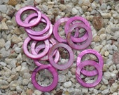 Purple Circle shape shell pendant or beads for Earrings 30mm 14beads