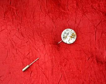 Round Watch Movement Cravat Pin - Stick Pin - Lapel Pin