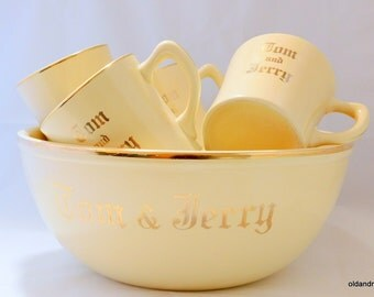 Homer Laughlin, Tom and Jerry Bowl and Mug Set, Hot Beverage Bowl with 7 Mugs, Fiesta