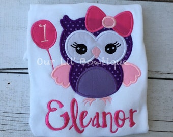 Owl Birthday Shirt- Personalized Birthday Shirt - Personalized Owl - Girl - Boy - Toddler - Baby - Birthday Outfit - Tutu