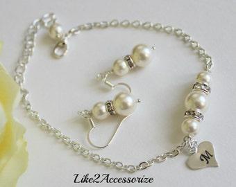 Bridesmaid Bracelet Earring Set, Initial Charm Bracelet, Personalized Bracelet, Wedding Jewelry, Bridesmaid Gifts, Initial Bracelet Monogram
