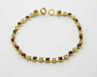 Vintage Tennis Bracelet - BR005b - Faux Ruby and Diamonds
