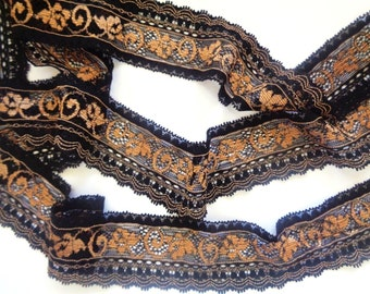 "Annabel Stretch Lace Trim, Black / Gold, 1 1/2"" inch wide, 1 Yard, For Apparel, Accessories, Mixed Media, Home Decor"