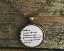 Writer Necklace || Writer Jewelry || Writer Gift || Definition Pendant || Bookworm Jewellery
