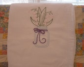Lily of the Valley  in a Mason Jar  Flour Sack Dish Towel