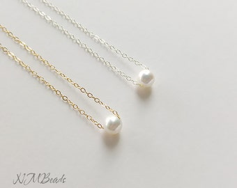 Delicate Floating Single Pearl Kids Necklace Sterling Silver or Gold Filled Little Girl Jewelry Confirmation First Communion Teenage Gift