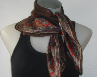 Vintage Brown Scarf - Square Scarves - Womens Hair Accessories 1970s