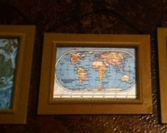 Vintage Wall Decor Maps, framed world maps, office industrial decor, cartography wall hangings, dorm room wall maps, geography maps