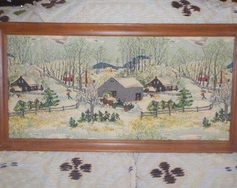 Grandma Moses Early 1950s, Spring Time Bark Cloth All Hand Quilted and Framed One of a Kind Work, Folk Art, Winter Scene, Vintage Home Decor