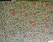 Vintage Bed Sheets, Twin Bed Size, Multi-Color Floral Print, Two Flat Top Sheets