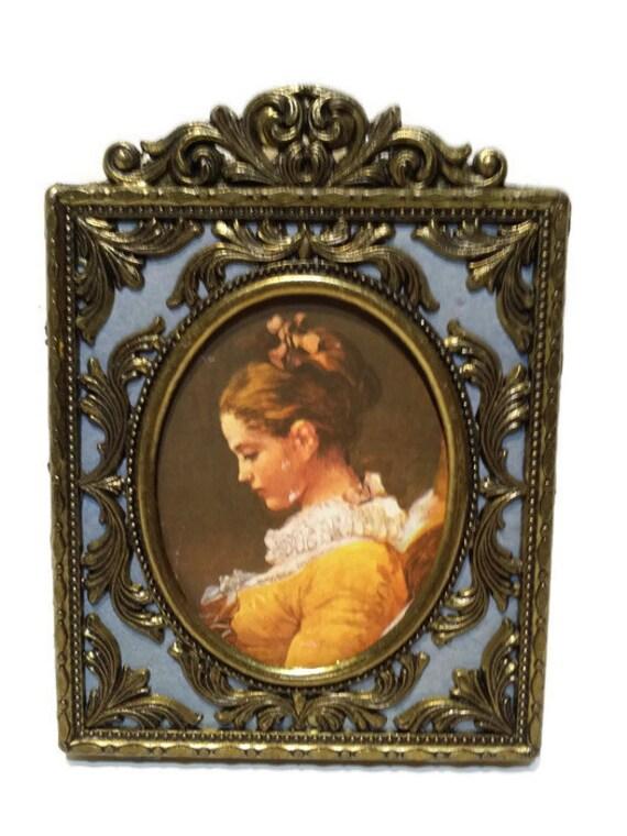 Vintage Italian Brass Picture Frame Rectangular Ornate Brass