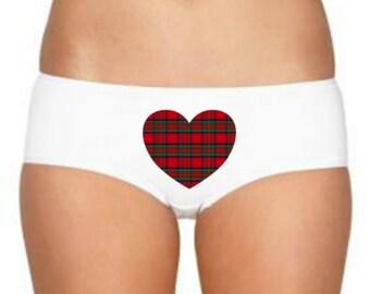 Tartan Knickers, Scottish Gift, Tartan Heart Underwear, Scottish Panties, Scotland Lingerie, Royal Stewart, Scotland Lover, Scotland Panties