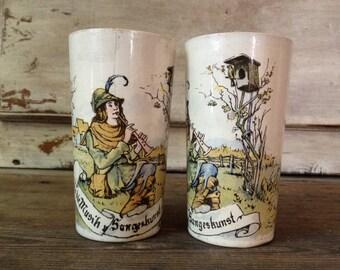 Antique German Villeroy and Boch Mettlach 1/4 Liter Beer Stein Beaker Beer Cup