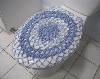 Crochet Toilet Seat Cover or Crochet Toilet Tank Lid Cover - robin egg/blue raspberry swirl (TSC13E or TTL13E)