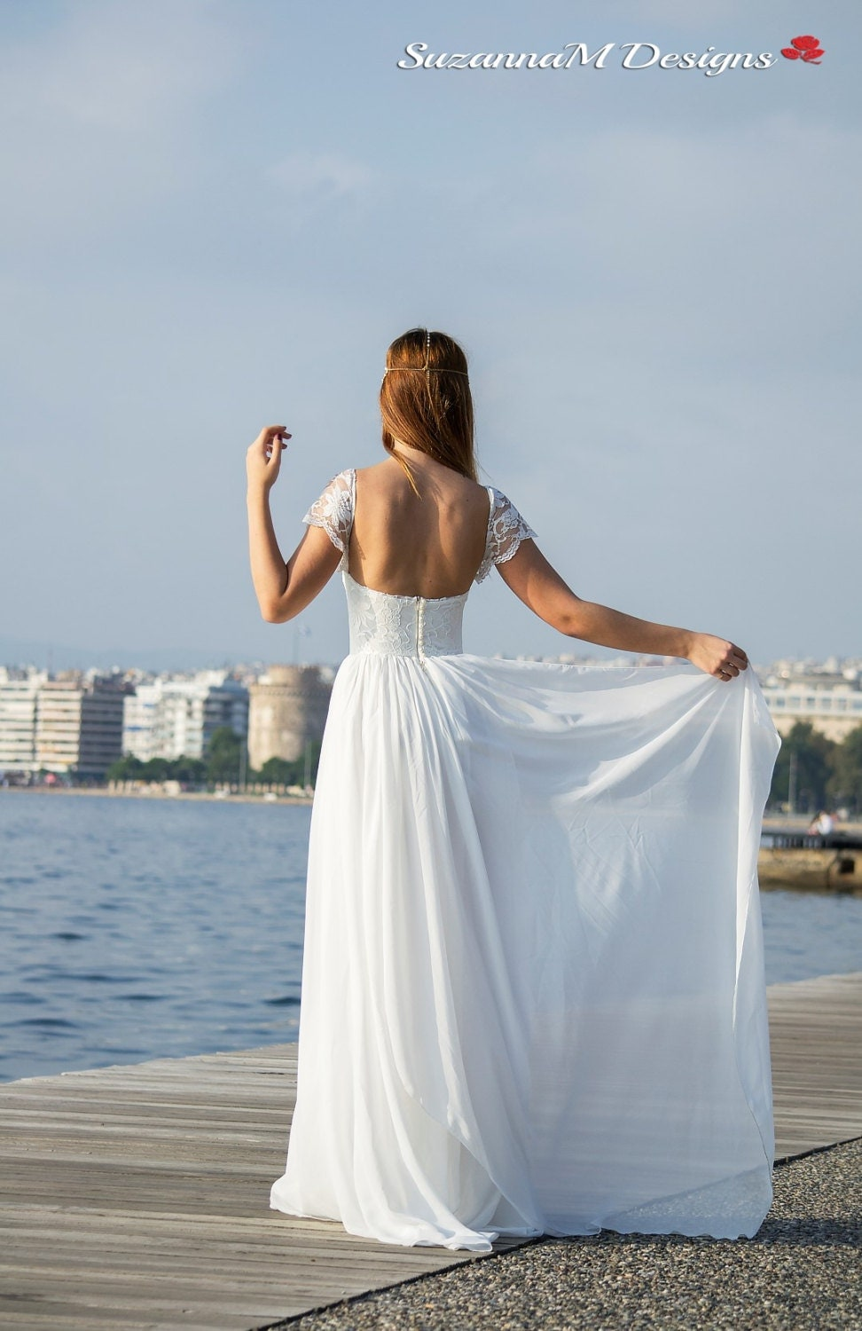 Wedding Dress Grecian Wedding Gown Long Bridal Dress Lace