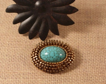 Antiqued Gold Tone Faux Turquoise Brooch Pin