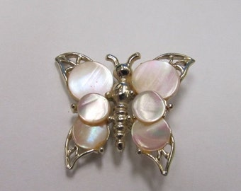 ON SALE Vintage Gold Tone Mother of Pearl Butterfly Pin Item K # 2166