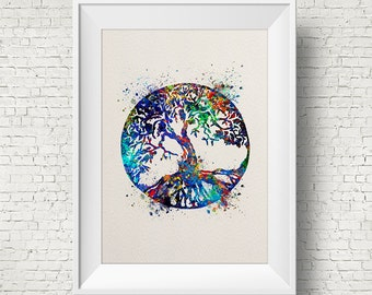 Tree of Life Watercolor Art Print Wall Art Poster Wedding Gift Nursery Nature Love Family Giclee Housewares Buddha Home Decor