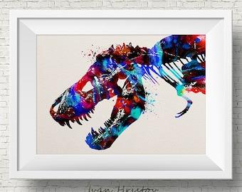 T-Rex print, dinosaur print, dinosaur bones, blue green kids art, watercolor dinosaur, dino print, dinosaur art, watercolor print