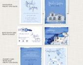 Destination wedding invitation set Santorini Greece Greek Island Invitation Suite European wedding - Deposit Payment
