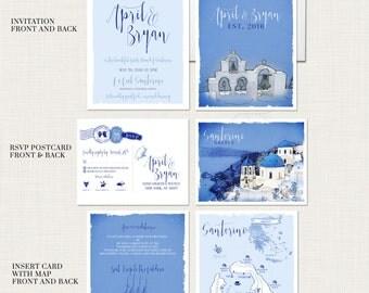 Destination wedding invitation set Santorini Greece Greek Island Invitation Suite European wedding - Illustrated invitation -Deposit Payment