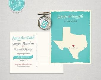Texas Destination wedding US State Save the Date Postcard Turquoise save the date Texas wedding invitation save the date postcard