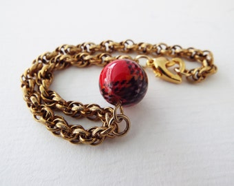 Vintage Chain Bracelet with Red Tartan Charm