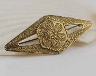 Gold Brass Tone Long Vintage Geometric Brooch with Floral Pattern