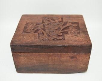 Hand Carved Wooden Trinket Box