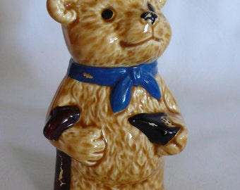 Vintage Ceramic Teddy Bear Bank in Top Hat and Cane Penny Bank Dime Store Bank