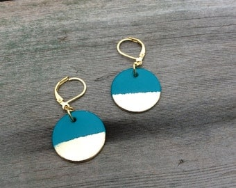 Gold Disc Earrings/Modern/Mod/Turquoise