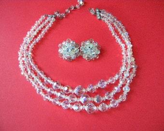 3 Strand Aurora Borealis Clear Crystal Necklace Set