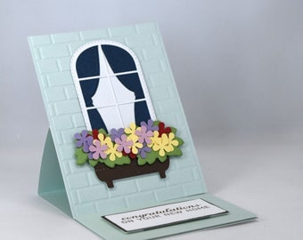 3D New Home Card, with Window and Flower Box,  Easel Card