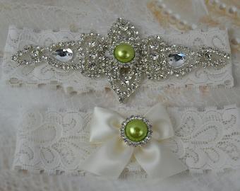 Wedding Garter Set, Vintage Garter Set , Crystal Garter, Ivory Garter,Green Garter