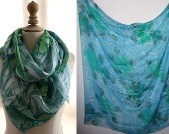 High fashion fabric silk devore, tones of turquoise