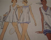 Vintage 1970's Vogue 8257 Tennis Dress and Shorts Sewing Pattern, Size 16, Bust 38
